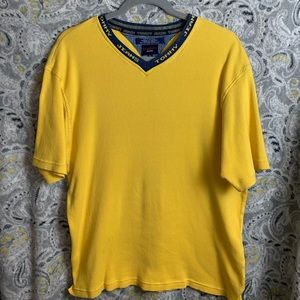 TOMMY JEANS Men's Vneck Tee XL yellow&blue